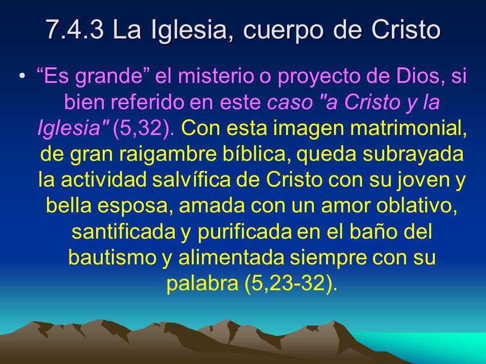 7.4.3 La Iglesia, cuerpo de Cristo Es grande el misterio o proyecto de Dios, si bien referido en este caso a Cristo y la Iglesia (5,32).