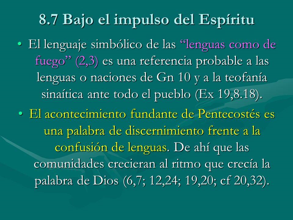 8.7 Bajo el impulso del Espíritu El lenguaje simbólico de las lenguas como de fuego (2,3) es una referencia probable a las lenguas o naciones de Gn 10
