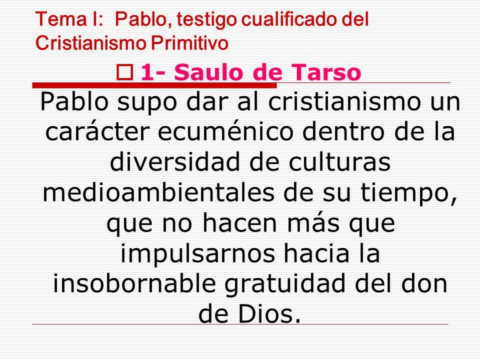 Tema I: Pablo, testigo cualificado del Cristianismo Primitivo 1- Saulo de Tarso Pablo supo dar al cristianismo un carácter ecuménico dentro de la diversidad de culturas medioambientales de su tiempo, que no hacen más que impulsarnos hacia la insobornable gratuidad del don de Dios.
