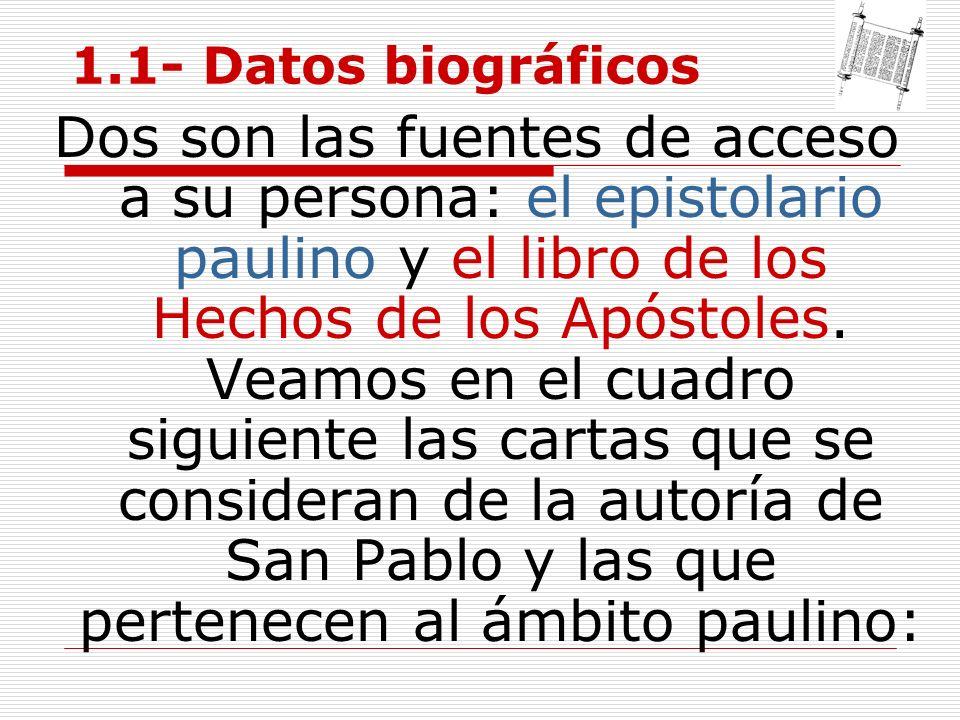 1.1- Datos biográficos Dos son las fuentes de acceso a su persona: el epistolario paulino y el libro de los Hechos de los Apóstoles. Veamos en el cuad