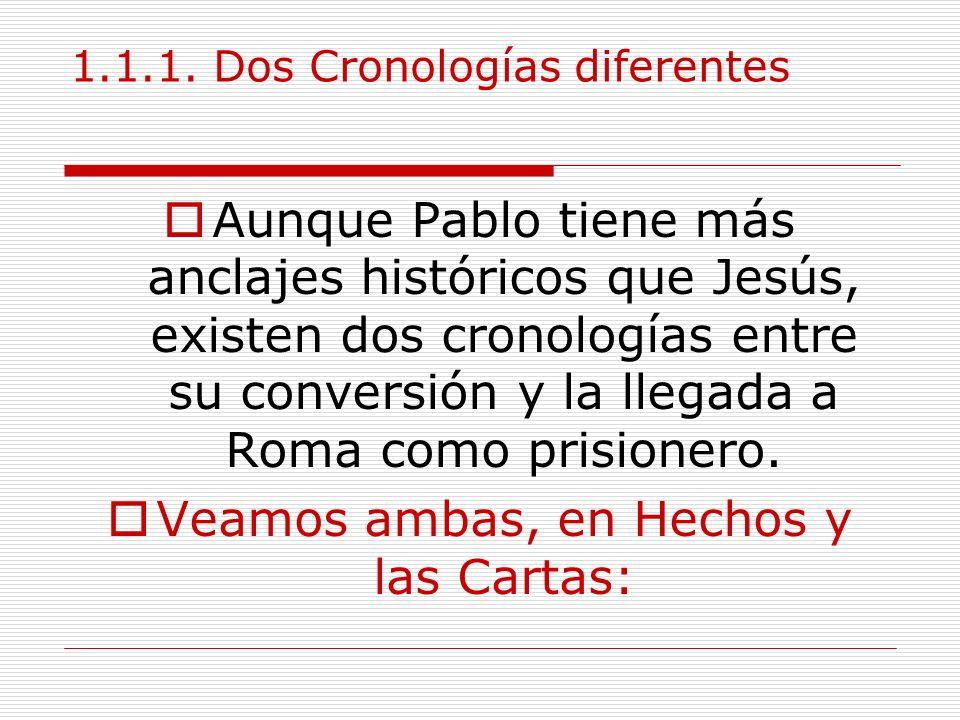 1.1.1. Dos Cronologías diferentes Aunque Pablo tiene más anclajes históricos que Jesús, existen dos cronologías entre su conversión y la llegada a Rom