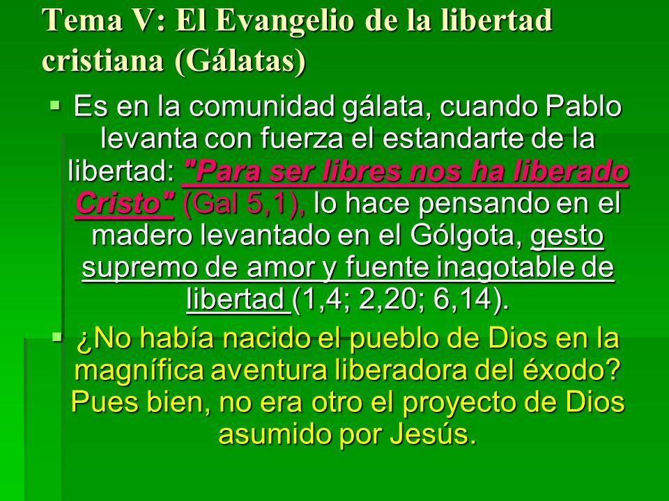 Tema V: El Evangelio de la libertad cristiana (Gálatas) Es en la comunidad gálata, cuando Pablo levanta con fuerza el estandarte de la libertad: Para ser libres nos ha liberado Cristo (Gal 5,1), lo hace pensando en el madero levantado en el Gólgota, gesto supremo de amor y fuente inagotable de libertad (1,4; 2,20; 6,14).