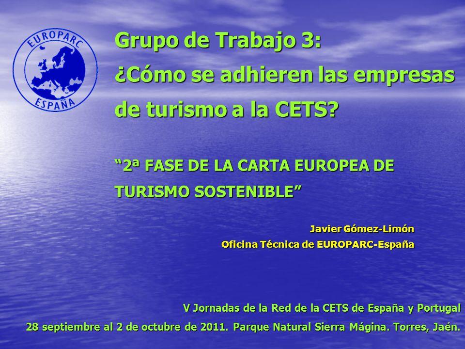 Grupo de Trabajo 3: ¿Cómo se adhieren las empresas de turismo a la CETS.