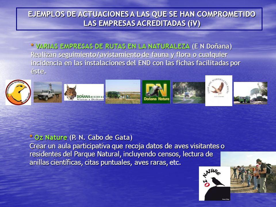 EJEMPLOS DE ACTUACIONES A LAS QUE SE HAN COMPROMETIDO LAS EMPRESAS ACREDITADAS (iV) * Oz Nature (P.
