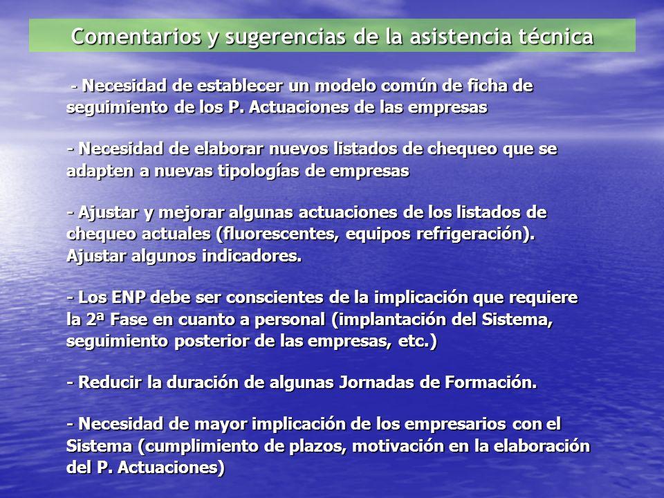Comentarios y sugerencias de la asistencia técnica - Necesidad de establecer un modelo común de ficha de seguimiento de los P.