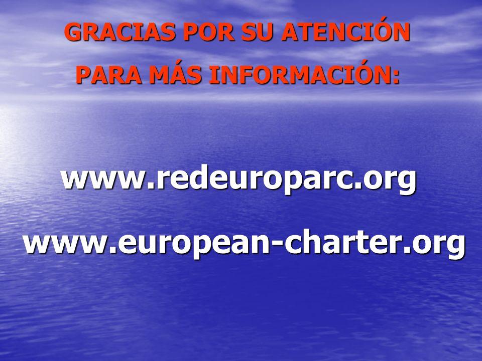 www.redeuroparc.org GRACIAS POR SU ATENCIÓN PARA MÁS INFORMACIÓN: www.european-charter.org