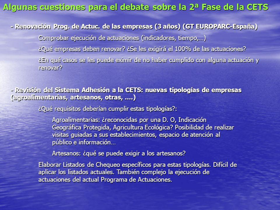 Algunas cuestiones para el debate sobre la 2ª Fase de la CETS - Renovación Prog.
