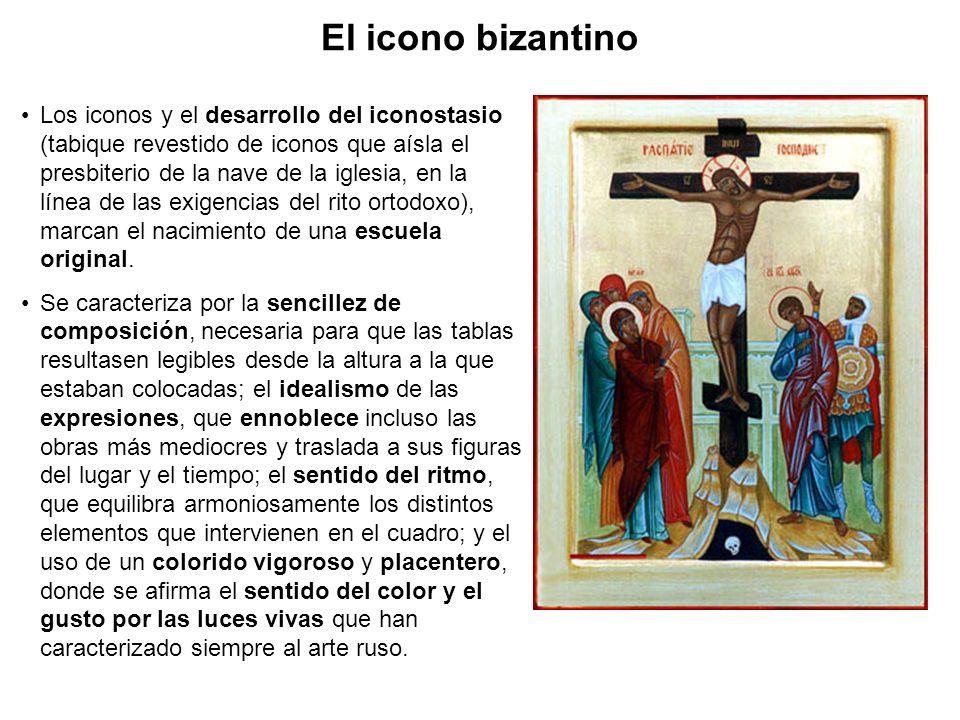 Los iconos y el desarrollo del iconostasio (tabique revestido de iconos que aísla el presbiterio de la nave de la iglesia, en la línea de las exigenci