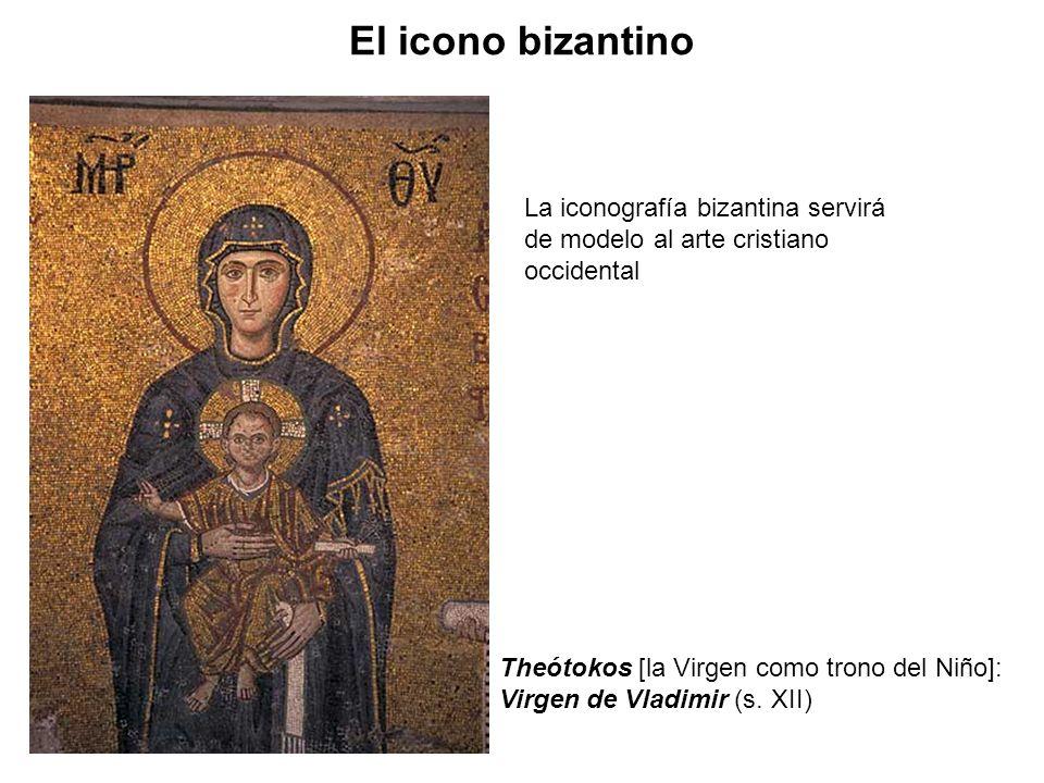 La iconografía bizantina servirá de modelo al arte cristiano occidental Theótokos [la Virgen como trono del Niño]: Virgen de Vladimir (s. XII) El icon