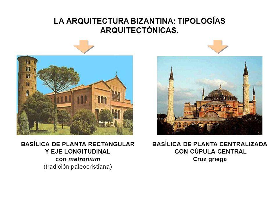 LA ARQUITECTURA BIZANTINA: TIPOLOGÍAS ARQUITECTÓNICAS. BASÍLICA DE PLANTA RECTANGULAR Y EJE LONGITUDINAL con matronium (tradición paleocristiana) BASÍ