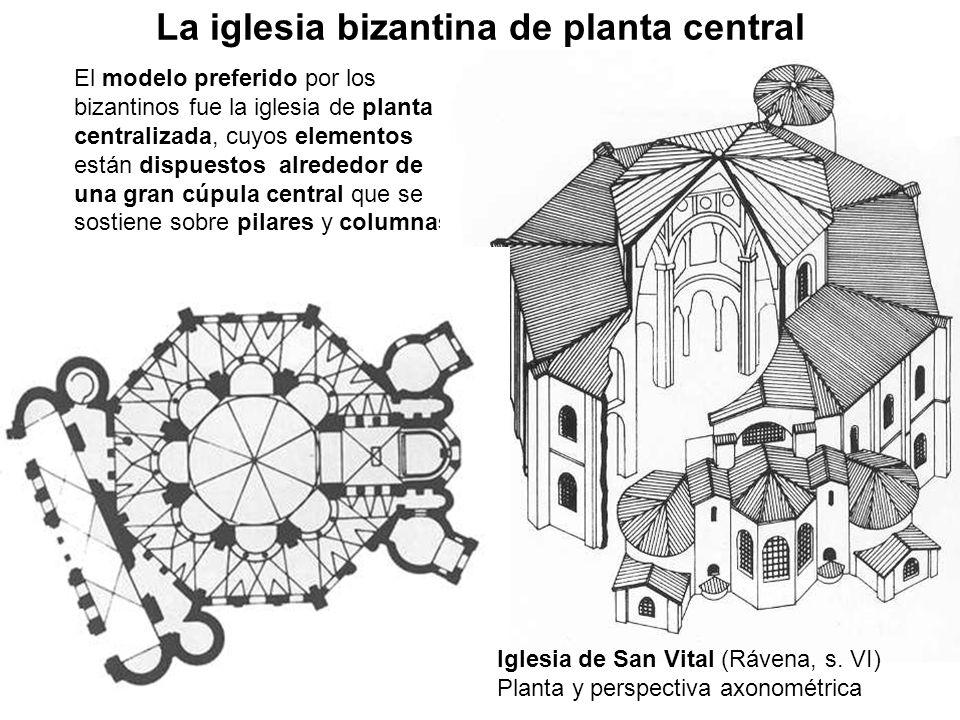 El modelo preferido por los bizantinos fue la iglesia de planta centralizada, cuyos elementos están dispuestos alrededor de una gran cúpula central qu