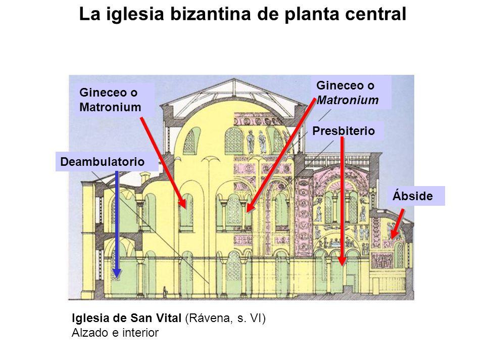 Presbiterio Deambulatorio Gineceo o Matronium Ábside Iglesia de San Vital (Rávena, s. VI) Alzado e interior La iglesia bizantina de planta central