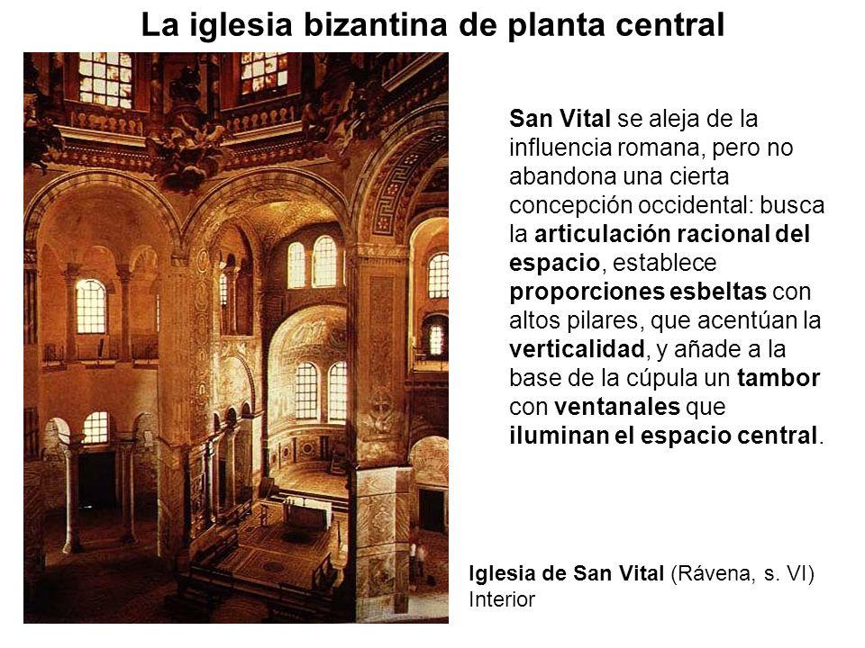 San Vital se aleja de la influencia romana, pero no abandona una cierta concepción occidental: busca la articulación racional del espacio, establece p