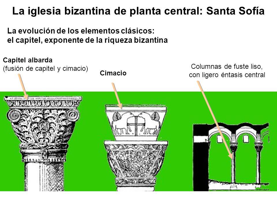 Capitel albarda (fusión de capitel y cimacio) Columnas de fuste liso, con ligero éntasis central Cimacio La evolución de los elementos clásicos: el ca
