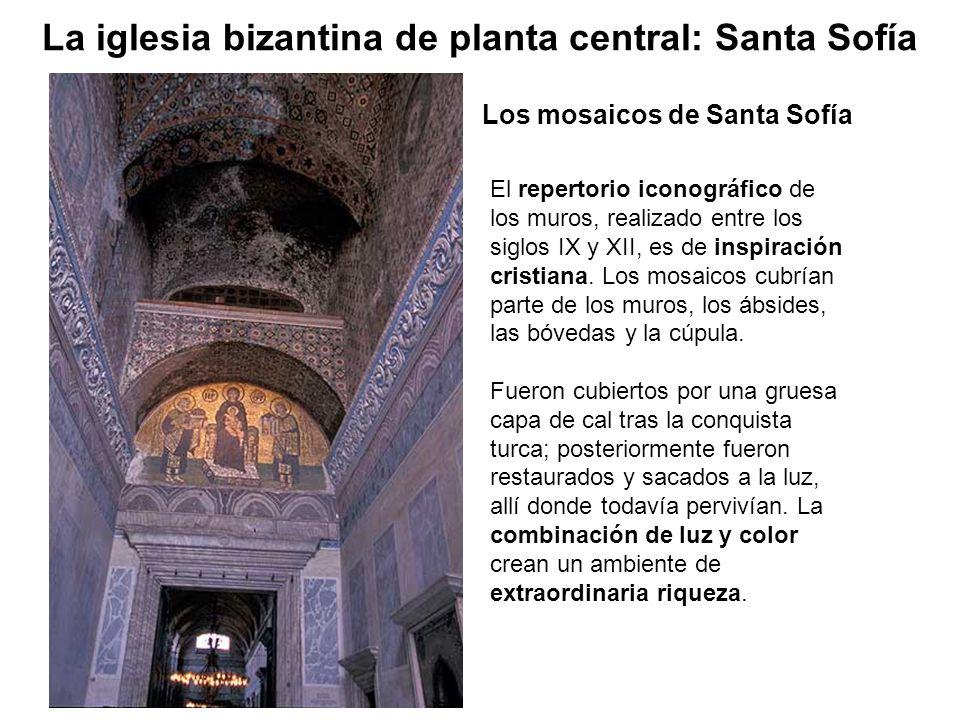El repertorio iconográfico de los muros, realizado entre los siglos IX y XII, es de inspiración cristiana. Los mosaicos cubrían parte de los muros, lo