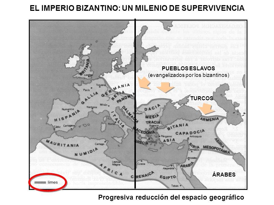 EL IMPERIO BIZANTINO: UN MILENIO DE SUPERVIVENCIA PUEBLOS ESLAVOS (evangelizados por los bizantinos) ÁRABES Progresiva reducción del espacio geográfic