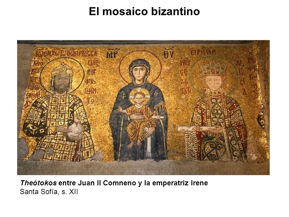 Theótokos entre Juan II Comneno y la emperatriz Irene Santa Sofía, s. XII El mosaico bizantino