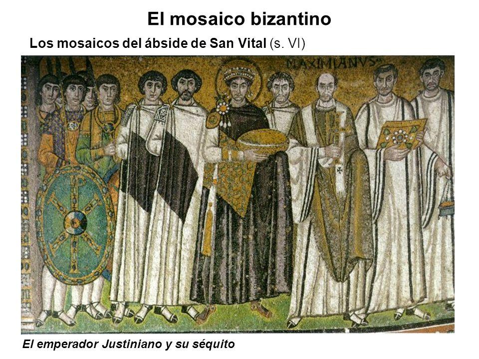 El emperador Justiniano y su séquito El mosaico bizantino Los mosaicos del ábside de San Vital (s. VI)