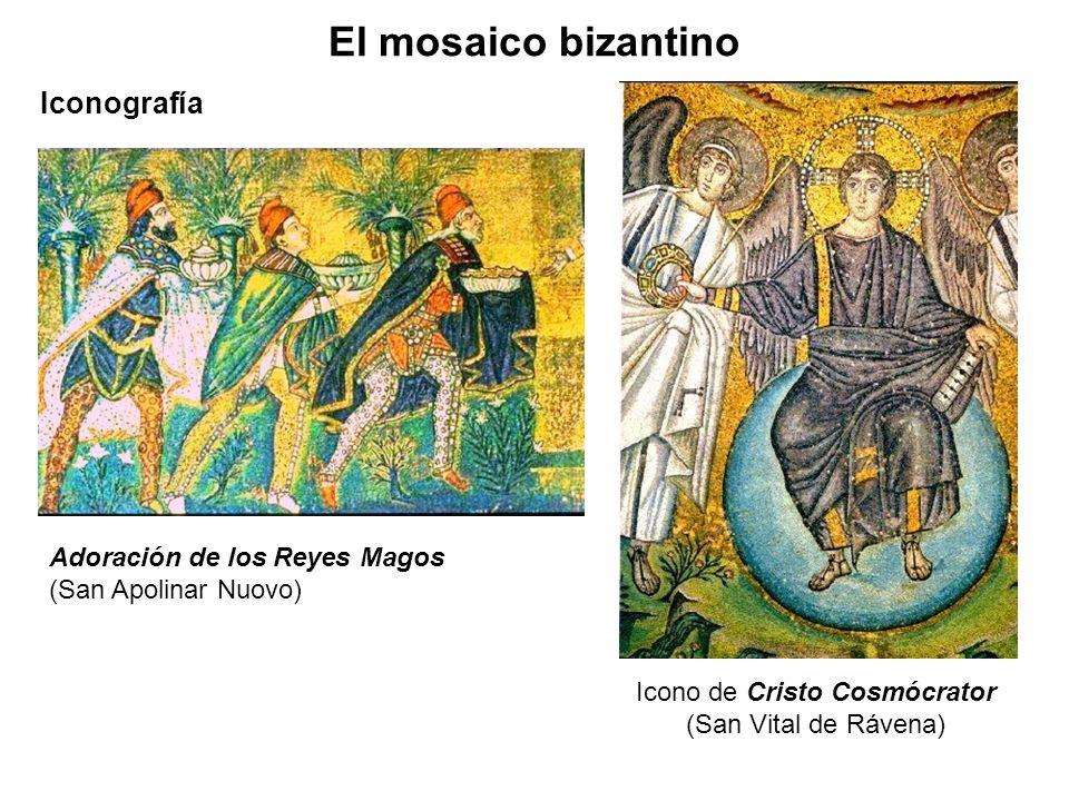 Adoración de los Reyes Magos (San Apolinar Nuovo) Iconografía El mosaico bizantino Icono de Cristo Cosmócrator (San Vital de Rávena)