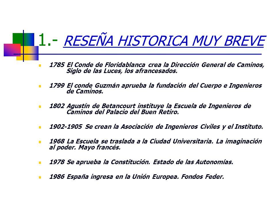 1.- RESEÑA HISTORICA MUY BREVE 1785 El Conde de Floridablanca crea la Dirección General de Caminos, Siglo de las Luces, los afrancesados. 1799 El cond