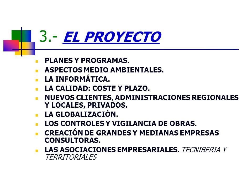 3.- EL PROYECTO PLANES Y PROGRAMAS. ASPECTOS MEDIO AMBIENTALES. LA INFORMÁTICA. LA CALIDAD: COSTE Y PLAZO. NUEVOS CLIENTES, ADMINISTRACIONES REGIONALE