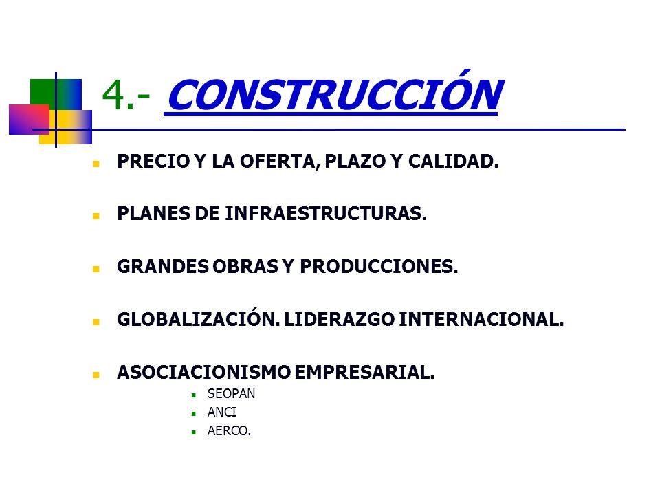 4.- CONSTRUCCIÓN PRECIO Y LA OFERTA, PLAZO Y CALIDAD. PLANES DE INFRAESTRUCTURAS. GRANDES OBRAS Y PRODUCCIONES. GLOBALIZACIÓN. LIDERAZGO INTERNACIONAL