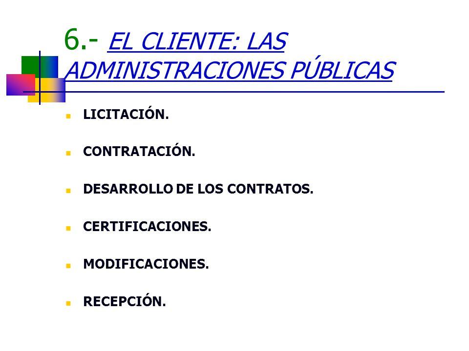 6.- EL CLIENTE: LAS ADMINISTRACIONES PÚBLICAS LICITACIÓN. CONTRATACIÓN. DESARROLLO DE LOS CONTRATOS. CERTIFICACIONES. MODIFICACIONES. RECEPCIÓN.