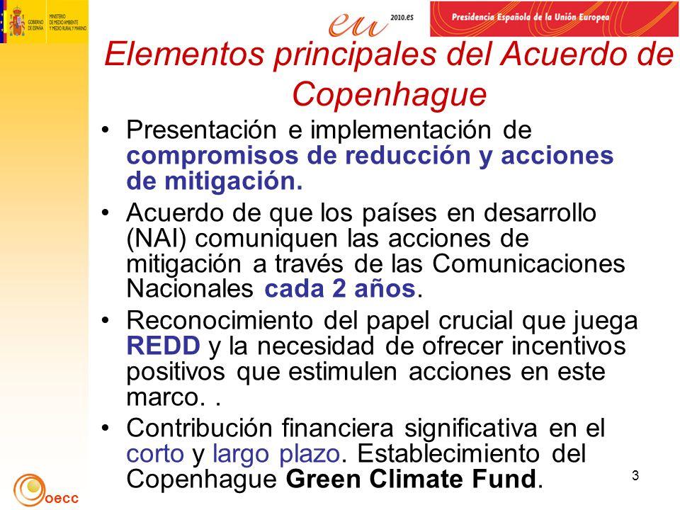 oecc 3 Elementos principales del Acuerdo de Copenhague Presentación e implementación de compromisos de reducción y acciones de mitigación.