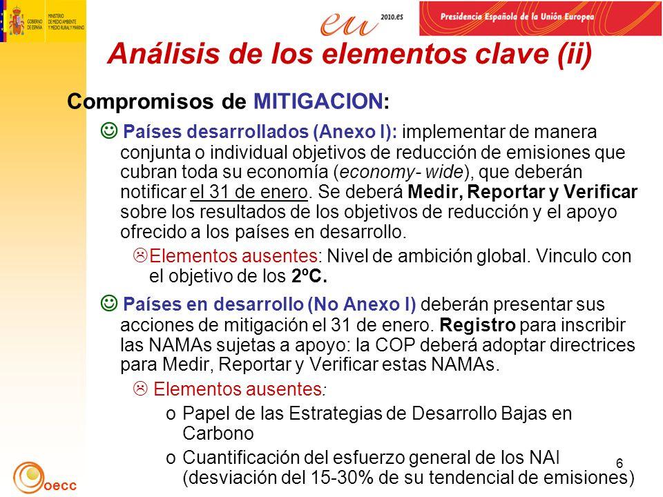oecc 6 Análisis de los elementos clave (ii) Compromisos de MITIGACION: Países desarrollados (Anexo I): implementar de manera conjunta o individual objetivos de reducción de emisiones que cubran toda su economía (economy- wide), que deberán notificar el 31 de enero.