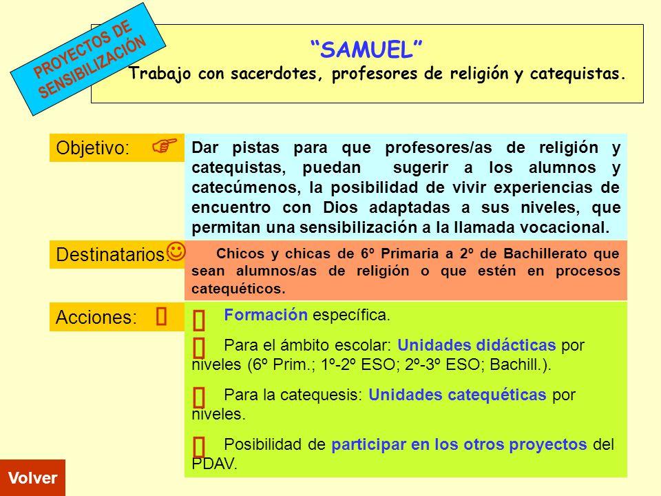 SAMUEL Trabajo con sacerdotes, profesores de religión y catequistas. Objetivo: Destinatarios: Acciones: Chicos y chicas de 6º Primaria a 2º de Bachill