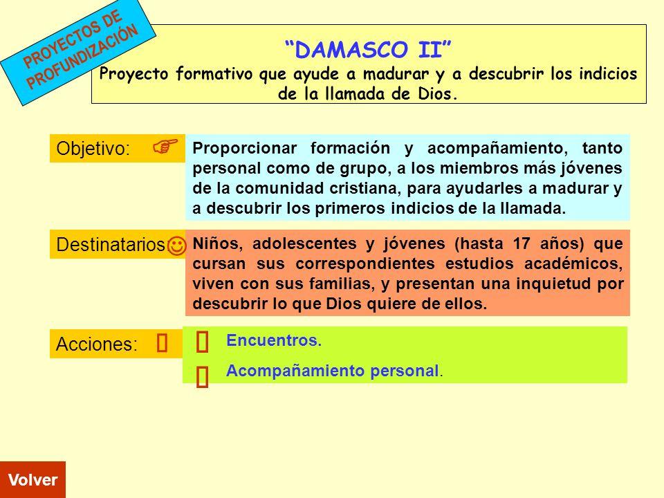 DAMASCO II Proyecto formativo que ayude a madurar y a descubrir los indicios de la llamada de Dios. Objetivo: Destinatarios: Acciones: Niños, adolesce