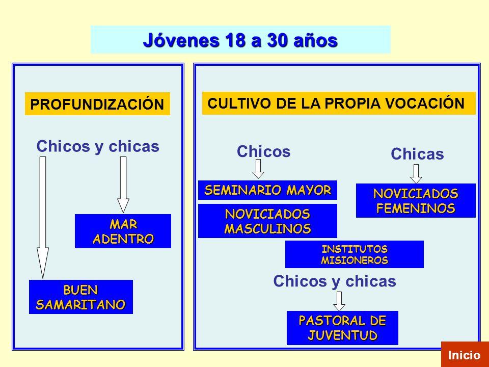 Jóvenes 18 a 30 años MAR ADENTRO BUEN SAMARITANO PASTORAL DE JUVENTUD SEMINARIO MAYOR NOVICIADOS MASCULINOS NOVICIADOS FEMENINOS PROFUNDIZACIÓN CULTIV
