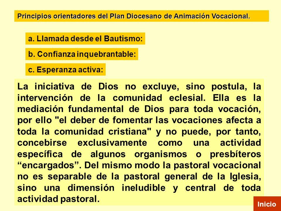 La iniciativa de Dios no excluye, sino postula, la intervención de la comunidad eclesial. Ella es la mediación fundamental de Dios para toda vocación,