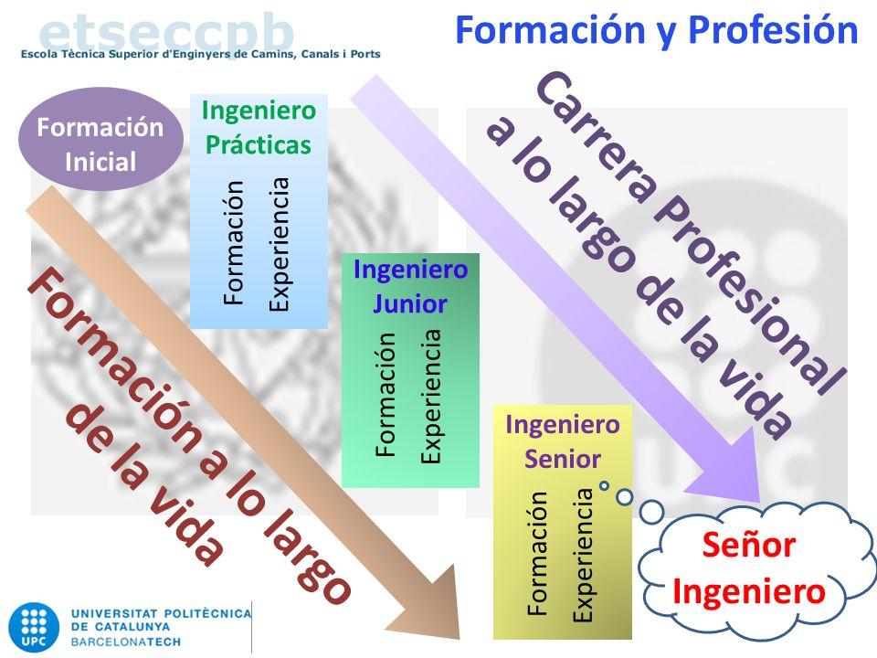 Formación Inicial Ingeniero Prácticas Experiencia Formación Ingeniero Junior Ingeniero Senior Formación a lo largo de la vida Carrera Profesional a lo largo de la vida Experiencia Formación Experiencia Formación Formación y Profesión Señor Ingeniero