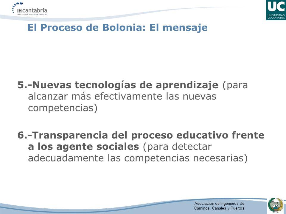 Asociación de Ingenieros de Caminos, Canales y Puertos El Proceso de Bolonia: El mensaje 5.-Nuevas tecnologías de aprendizaje (para alcanzar más efect