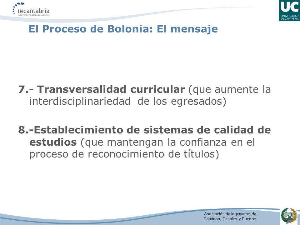 Asociación de Ingenieros de Caminos, Canales y Puertos El Proceso de Bolonia: El mensaje 7.- Transversalidad curricular (que aumente la interdisciplinariedad de los egresados) 8.-Establecimiento de sistemas de calidad de estudios (que mantengan la confianza en el proceso de reconocimiento de títulos)