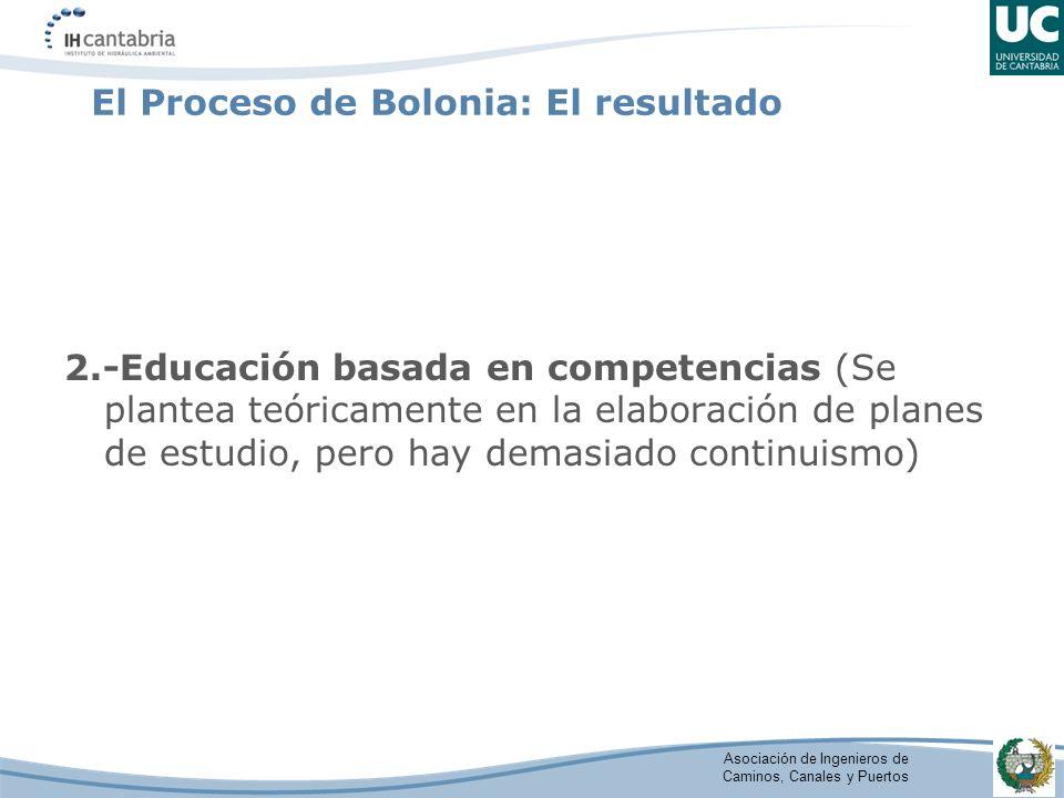 Asociación de Ingenieros de Caminos, Canales y Puertos El Proceso de Bolonia: El resultado 2.-Educación basada en competencias (Se plantea teóricamente en la elaboración de planes de estudio, pero hay demasiado continuismo)
