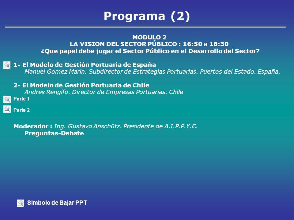 Programa (3) MODULO 3 VISION DEL SECTOR PRIVADO 18:00 a 20:00 1.Visión del Sector Logístico Roberto De Stefano.