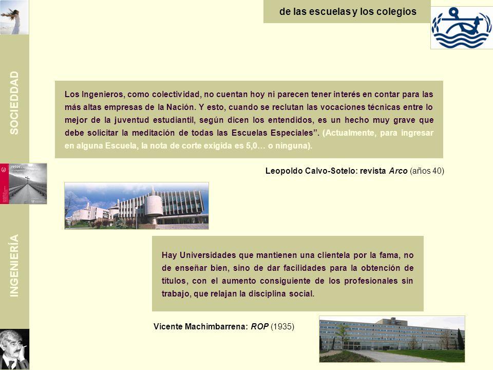 SOCIEDDAD INGENIERÍA de las escuelas y los colegios Leopoldo Calvo-Sotelo: revista Arco (años 40) Los Ingenieros, como colectividad, no cuentan hoy ni parecen tener interés en contar para las más altas empresas de la Nación.