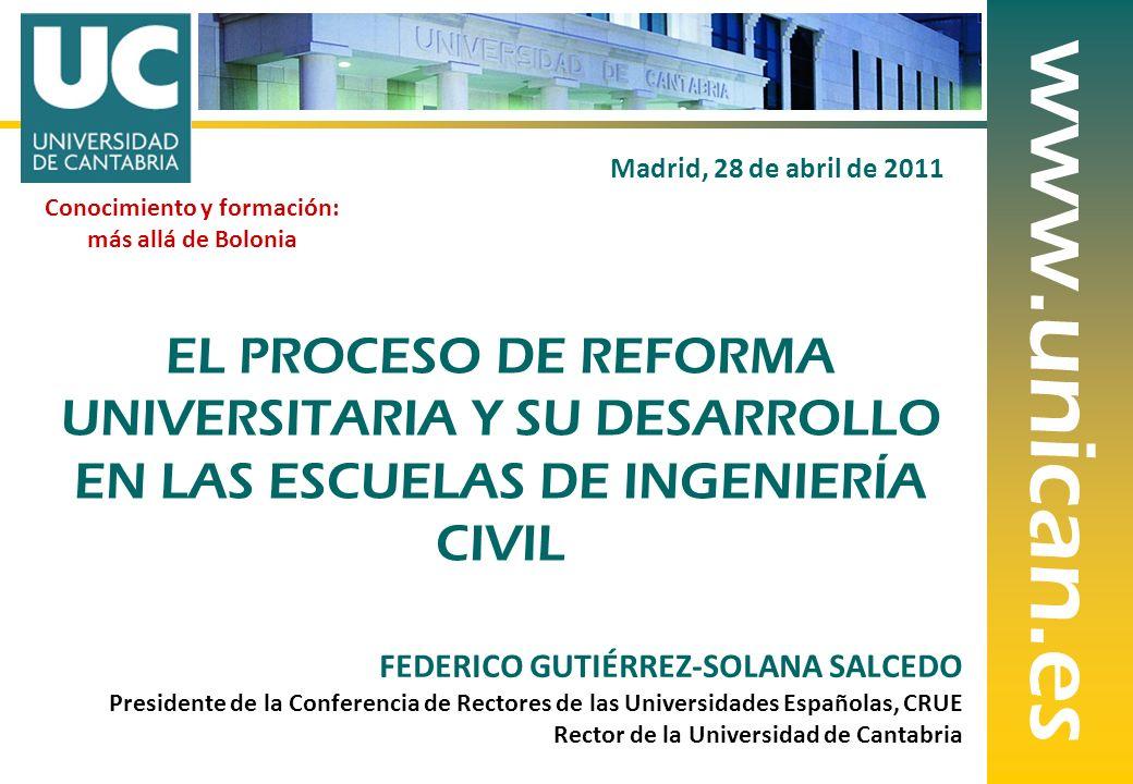 1 FEDERICO GUTIÉRREZ-SOLANA SALCEDO Presidente de la Conferencia de Rectores de las Universidades Españolas, CRUE Rector de la Universidad de Cantabri
