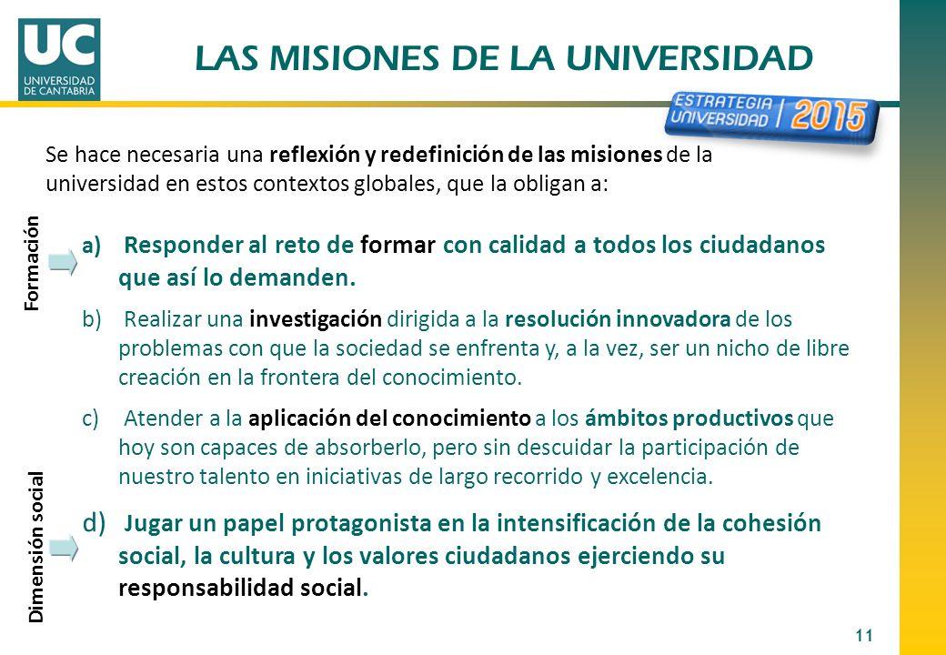LAS MISIONES DE LA UNIVERSIDAD 11 Se hace necesaria una reflexión y redefinición de las misiones de la universidad en estos contextos globales, que la