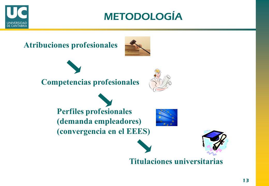 13 Atribuciones profesionales Perfiles profesionales (demanda empleadores) (convergencia en el EEES) Competencias profesionales Titulaciones universit