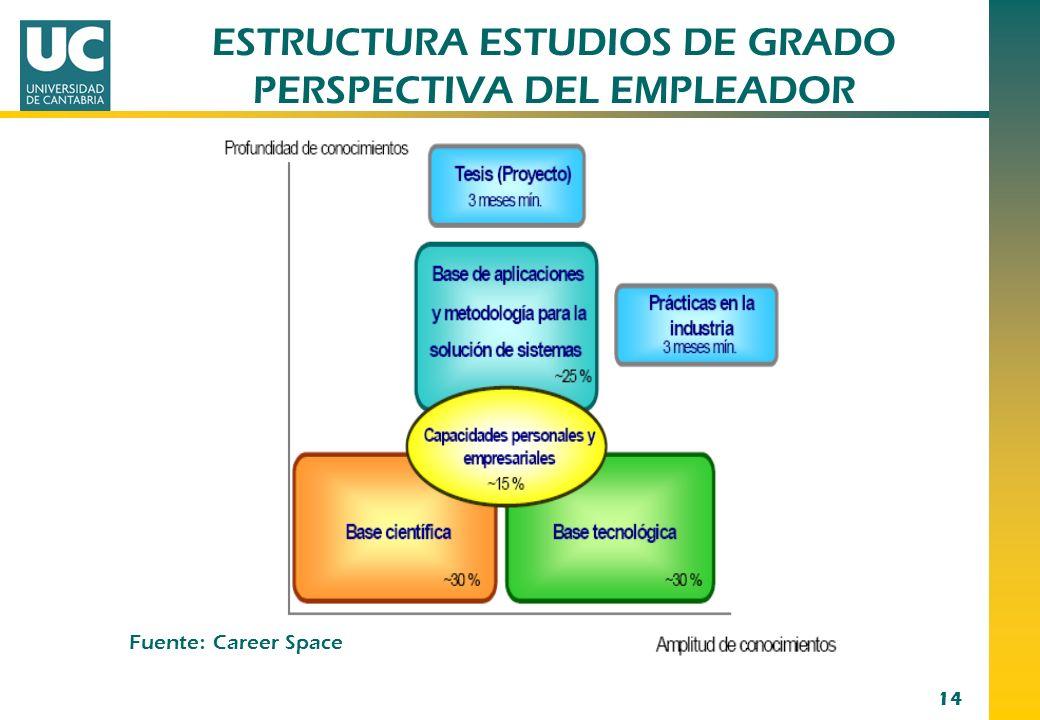 14 Fuente : Career Space ESTRUCTURA ESTUDIOS DE GRADO PERSPECTIVA DEL EMPLEADOR
