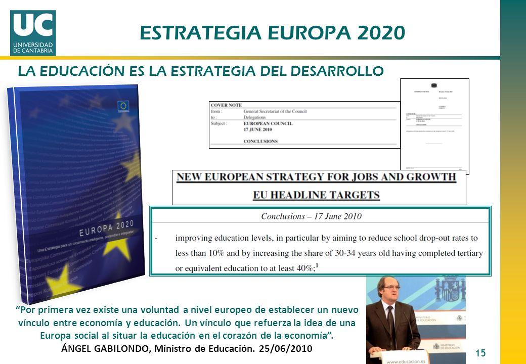15 ESTRATEGIA EUROPA 2020 Por primera vez existe una voluntad a nivel europeo de establecer un nuevo vínculo entre economía y educación. Un vínculo qu