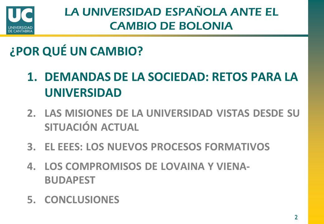1.DEMANDAS DE LA SOCIEDAD: RETOS PARA LA UNIVERSIDAD 2.LAS MISIONES DE LA UNIVERSIDAD VISTAS DESDE SU SITUACIÓN ACTUAL 3.EL EEES: LOS NUEVOS PROCESOS