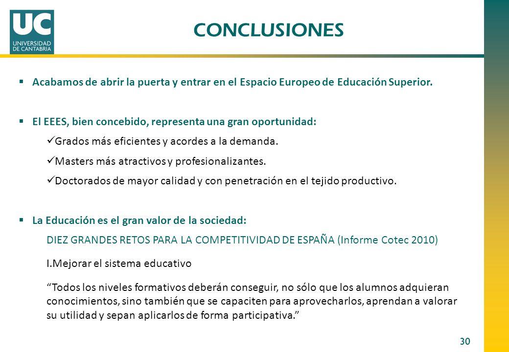 30 CONCLUSIONES Acabamos de abrir la puerta y entrar en el Espacio Europeo de Educación Superior. El EEES, bien concebido, representa una gran oportun