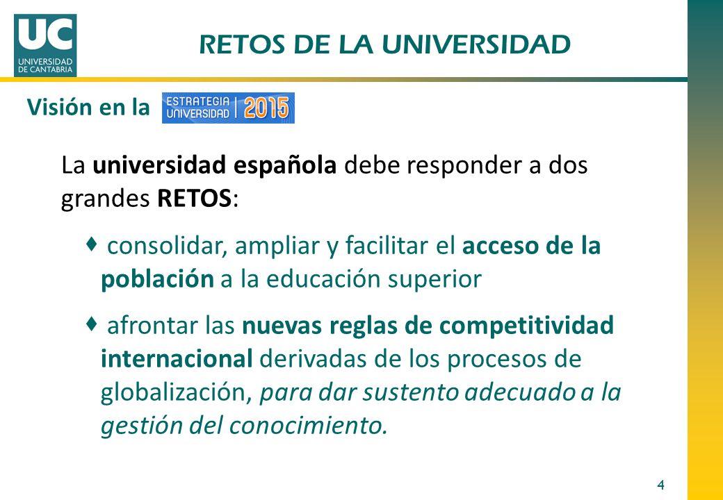 RETOS DE LA UNIVERSIDAD 4 La universidad española debe responder a dos grandes RETOS: consolidar, ampliar y facilitar el acceso de la población a la e