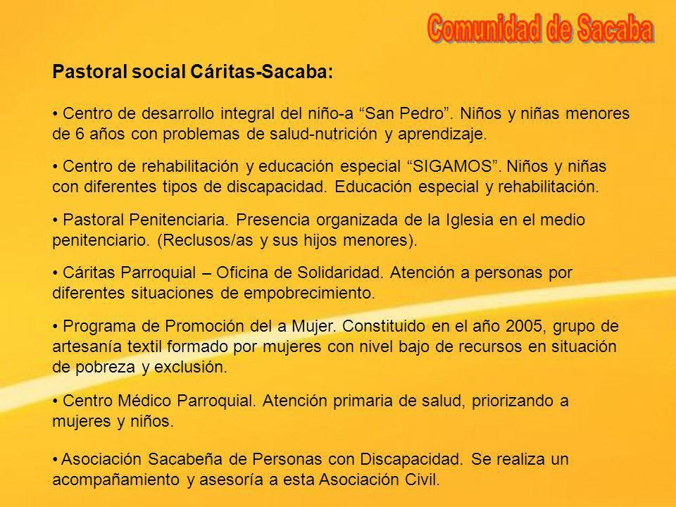 Pastoral social Cáritas-Sacaba: Centro de desarrollo integral del niño-a San Pedro. Niños y niñas menores de 6 años con problemas de salud-nutrición y