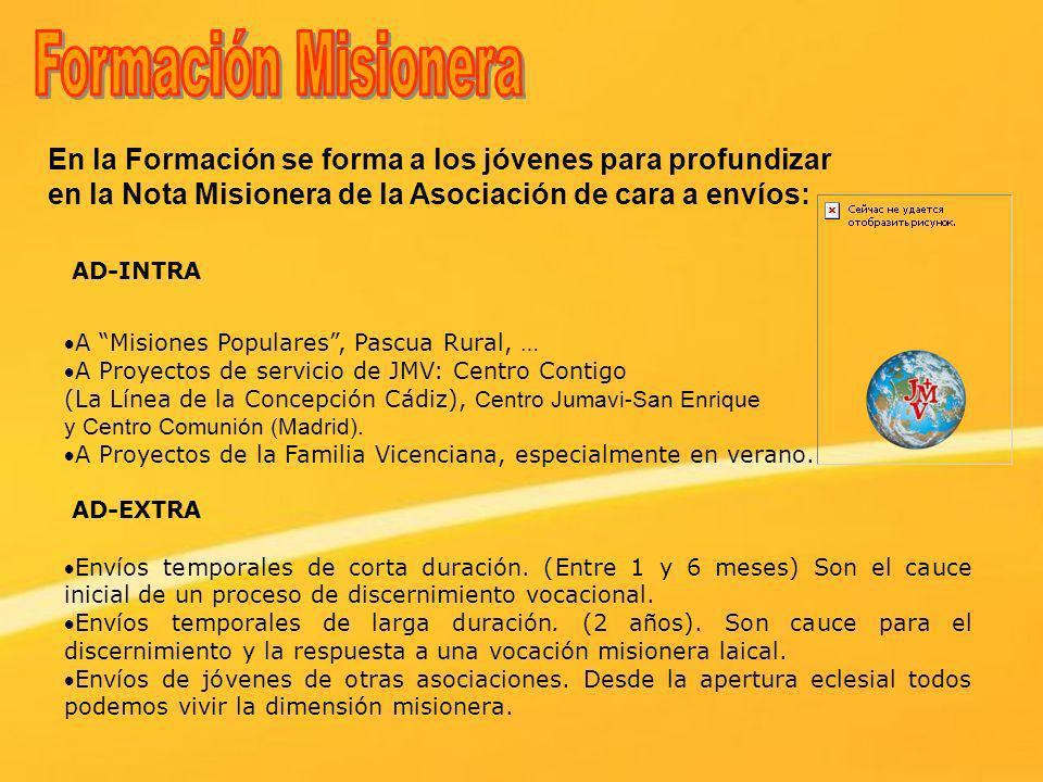 En la Formación se forma a los jóvenes para profundizar en la Nota Misionera de la Asociación de cara a envíos: A Misiones Populares, Pascua Rural, …