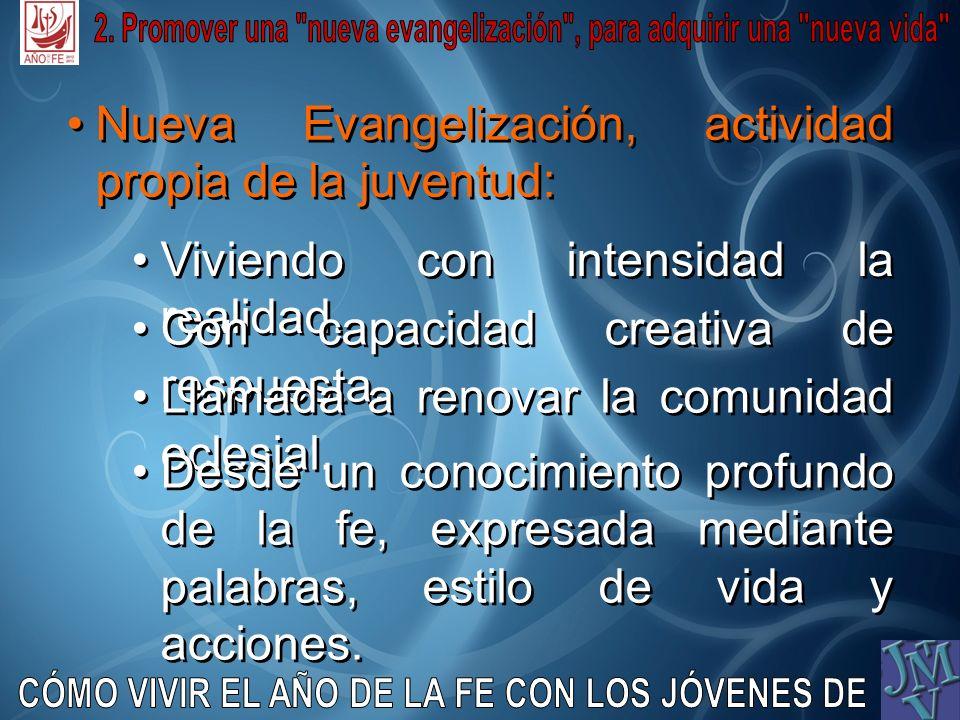 Nueva Evangelización, actividad propia de la juventud: Viviendo con intensidad la realidad. Viviendo con intensidad la realidad. Con capacidad creativ